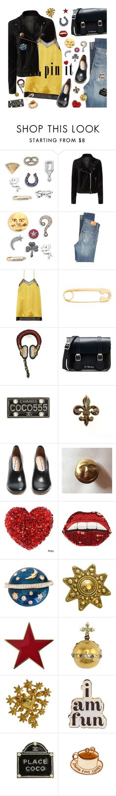 """""""Pins With Personality"""" by magdafunk ❤ liked on Polyvore featuring Marc Jacobs, Paige Denim, Citizens of Humanity, Gucci, True Rocks, Macon & Lesquoy, Dr. Martens, Chanel, Acne Studios and Happy Embellishments"""