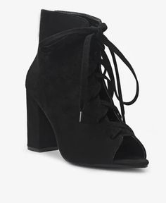 Lace Up Heels - Black Lace Up Heels, Black Heels, Peep Toe, Pairs, Ankle, Female, Elegant, Lady, Boots