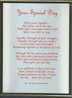 Anniversary Poems For Parents | ETA: If you do use this one and tweak it, it's worth noting that the ...