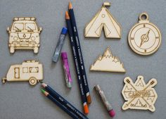 Camping set of 6 pcs laser cut plywood cutouts with engraving for DIY projects craft supplies by woodandroot. the best idea for art therapy :) ! (Craft Supplies & Tools  Scrapbooking Supplies  Embellishments & Die Cuts  wood  unfinished  Supplies  scrapbooking badge  pin  brooch  Patches  camping  travel  hiking  tent  backpack)