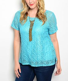 Look what I found on #zulily! Turquoise Sheer Lace Top - Plus #zulilyfinds