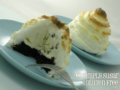 Baked Alaska with Chocolate Cake and Cacao Nib Vanilla Bean Ice Cream: Gluten/ Refined Sugar Free