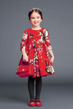 Red dress for Autumn/winter kids fashion 2015