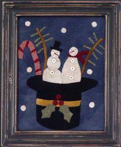 Wool snowman hat applique....