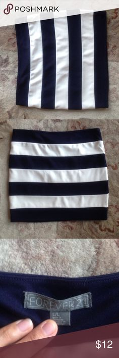 Forever 21 tube skirt, blue and white stripe Forever 21 Blue and White Stripe Tube Tight Skirt, perfect for a night out or clubbing! Size large, tight and short. Great condition. Forever 21 Skirts Mini