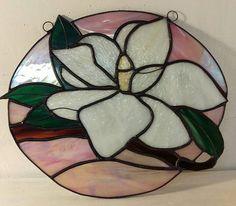 Stained Glass White Magnolia by SunshineSuncatchers on Etsy