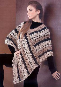 Crochet Striped Poncho pattern