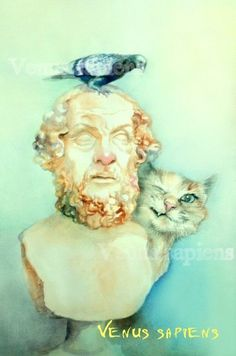 8x10in, А5, А4, giclee, Watercolor PRINT, Homer, funny cat, dove,  Art Print