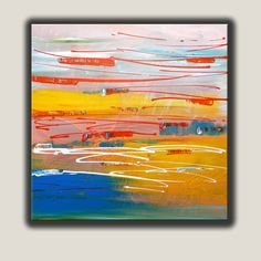 """Abstract painting, Original Painting, Blue, Yellow,  Orange colors, Acrylic Painting on Canvas, size 30"""" x 30"""" x 3/4"""", Modern Art. door ColorRich op Etsy https://www.etsy.com/nl/listing/227715968/abstract-painting-original-painting-blue"""