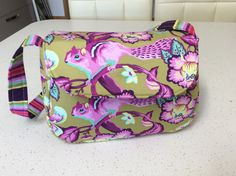Small shoulder bag using Tula Pink fabric and Bosal lining to hold shape