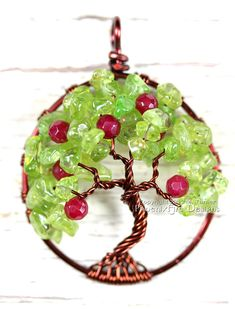 Apple Tree  Tree of Life Pendant Peridot and by PhoenixFireDesigns, $60.00