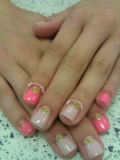 Pink nude moon nails