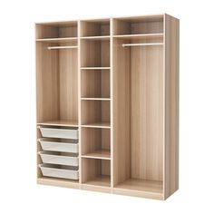 Online Ikea PAX Wardrobe - white stained oak effect - IKEA in Auckland NZ. Lowest prices and largest range of IKEA Furniture in New Zealand. Shop for Living room furniture, outdoor furniture, bedroom furniture, office and alot more ! Wardrobe Design Bedroom, Diy Wardrobe, Master Bedroom Closet, Wardrobe Ideas, Wardrobe Cabinet Bedroom, Corner Wardrobe, Wardrobe Storage, Wardrobe Doors, Closet Layout