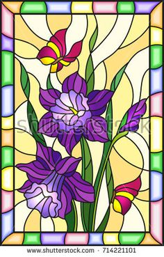 Illustration in stained glass style with flowers, leaves and buds of purple flowers and butterflies on a yellow background with bright frame