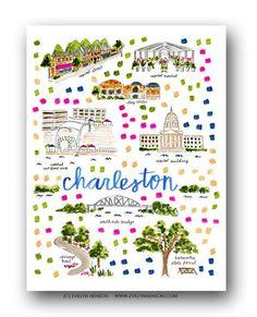 Charleston WV Map Print