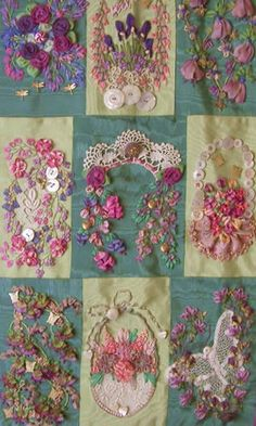 Wonderful Ribbon Embroidery Flowers by Hand Ideas. Enchanting Ribbon Embroidery Flowers by Hand Ideas. Crazy Quilting, Crazy Quilt Stitches, Crazy Patchwork, Silk Ribbon Embroidery, Embroidery Stitches, Embroidery Patterns, Hand Embroidery, Embroidery Supplies, Vintage Embroidery