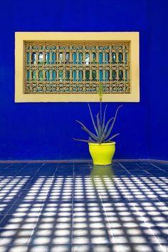 Photography by Jardin Majorelle. Moroccan Design, Moroccan Decor, Moroccan Style, Marrakech Morocco, Marrakesh, Islamic Architecture, Moorish, Shades Of Blue, Color Inspiration