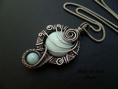 Antiqued silver Wire wrapped pendant / Amazonite gemstone / Wire wrapped jewelry by PillarOfSaltStudio