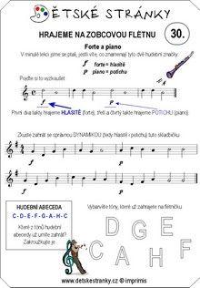 Škola hry na zobcovou flétnu zdarma - LEKCE 30. Sheet Music, Music Sheets