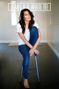 Jeans and a white T