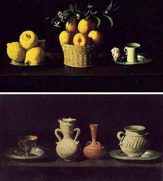 Bodegó Francisco de Zurbarán Plato con limones, cesta con naranjas y taza con una rosa, (1633) y Bodegón con cacharros, (1655)