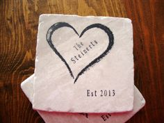 Personalized Coasters, Heart Wedding Anniversary Stone Drink Coasters