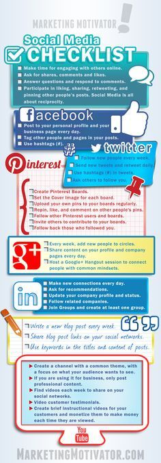 "[INFOGRAPHIC] LIKE & SHARE: I made this <a class=""pintag searchlink"" data-query=""%23infographic"" data-type=""hashtag"" href=""/search/?q=%23infographic&rs=hashtag"" rel=""nofollow"" title=""#infographic search Pinterest"">#infographic</a> for you! It contains Social Media Checklists for Facebook, Twitter, Pinterest, Google+, Linkedin, Blogging and Youtube. Get the full plans for each, plus 1000 business templates, documents, forms, & agreements, and lots more at the Marketing Mastermind"