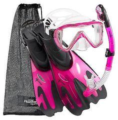 Snorkels and Sets 71162: Phantom Aquatics Legendary Mask Fin Snorkel Set With Mesh Bag Pink M L, 9-12 -> BUY IT NOW ONLY: $59.99 on eBay!