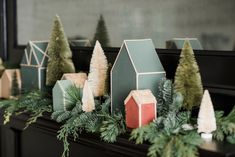 There's a certain amount of nostalgia attached to a little Christmas village like this one. We love the way these handmade houses, inspired by our holiday visual display at the market, make a whimsical addition to Christmas decor. They remind. Noel Christmas, Little Christmas, Christmas Projects, All Things Christmas, Winter Christmas, Christmas Ornaments, Christmas Music, Retro Christmas, Christmas Lights