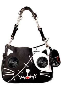 attitude Clothing Co. - Banned - Cat Speaker Handbag (White)