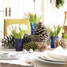 Tischdeko Ideen Tulpen-Zapfen Geschmackvoll-dekorieren Zierde