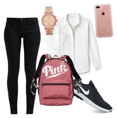 """""""School clothes"""" by ranim-mannai on Polyvore featuring 7 For All Mankind, Lacoste, NIKE, Victoria's Secret, Belkin et FOSSIL"""