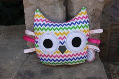 Owl Handmade Sensory Taggy Toys with Chevron Polka Dots handmade with love by TulipDesignsShop on Etsy