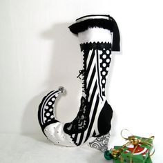 Victorian Christmas Stocking - Black White - Whimsical Holiday - Cyber Monday - Decorative Shoe Boot - Silk - Silver Bells