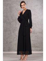 İroni Kadın Siyah Uzun Şifon Elbise