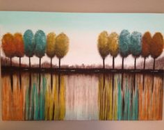 Abstract trees,tree painting, tree reflection painting,abstract, brown painting,orange painting,turquoise painting