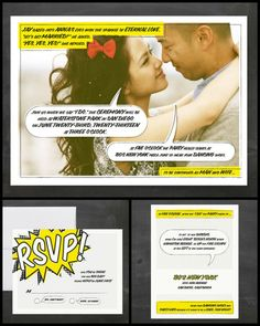 Love the comic book one and the love letters one! inspiration for our invites!