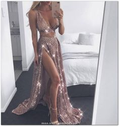 2019 A-Line Charming Sexy Sequin Sparkly Rose Gold Split Prom Dresses Slit Formal Gowns Cheap Evening Gowns Split Prom Dresses, Sexy Dresses, Beautiful Dresses, Party Dresses, Dress Prom, Elegant Dresses, Wedding Dresses, Dress Long, Sequin Prom Dresses