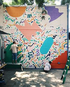 Working on a mural for this week Shoutout to bug and for their help, dedication, and care! is part of Mural art - Street Mural, Street Art, Collages, Collage Art, Painting Inspiration, Art Inspo, Illustrations, Illustration Art, Pavement Art