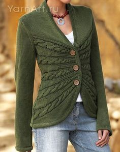 Great cable detail in this cardigan. [N.B.: If you pinned this earlier, make sure the one you pinned is a link, not just an image! I went and hunted down the actual pattern so this one is a working link now.]