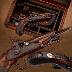 A PAIR OF RIGBY PERCUSSION PISTOLS: This pair of pistols boasts .48 caliber bores. But beyond the two shots, this duo can also deploy a set of bayonet blades that normally reside alongside the barrels. We know that these were intended to be carried in the pocket or belt by the fact that the hinged backstrap of each pistol can be raised to reveal recesses for a pair of patched round balls and spare percussion caps.