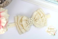 Vintage Style Hairbow Headband  Embellished with Silk Fabric and a beautiful rhinestone pearled center. Measures approx. 5 - 5.5 in wide Attached to an elastic headband. Handmade  **Do not copy**  ***THIS IS NOT A TOY*** - Some products contain small parts. children should always be supervised while wearing our accessories.  ~Please leave age of child thats is being bought for, for customer headband size~  Orders can be combined to reduce shipping costs.  Please click here for RUSH AND…