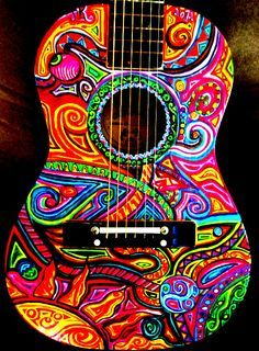 Want to do this to my ukulele! Guitar Painting, Guitar Art, Cool Guitar, Acoustic Guitar, Posca Art, Hippie Art, Hippie Chick, Hippie Bohemian, Guitar Design