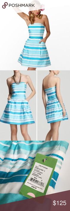 """Lilly Pulitzer • NWT Turquoise striped dress Lilly Pulitzer blossom dress in """"turquoise wrapping stripe."""" NWT. Size 2. Just needs a steam and it's perfect. Lilly Pulitzer Dresses"""