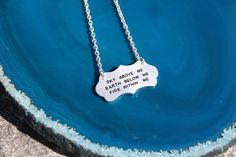 Super cute boho silver necklace.  Sky above me, Earth below me, Fire within me stamped uplifting words.  #Blissfulhaze #silvernecklace #stamped #etsy
