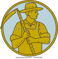 Mono line style illustration of an organic farmer farm worker holding scythe looking to the side set inside circle on isolated background. #farmer #monoline #illustration