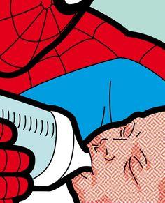 Cheeky Pop Art Illustrations Explore The Secret Lives Of Superheroes - DesignTAXI.com