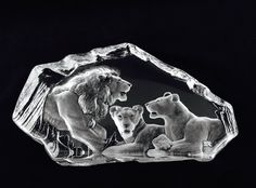 Mats Jonasson Sweden Full Lead Crystal Pride of Lions Sculpture Paperweight #3629 Målerås Glasbruk by StevieSputnik on Etsy