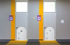 Fun small doors for kids. Perfect for home or for interior offices within hospitals or doctor offices. Small Doors, Doctor Office, Hospitals, Office Interiors, Offices, Lockers, Locker Storage, Kids Room, Room Kids