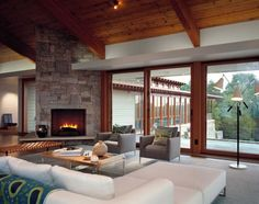 Contemporary Living Room with Fireplace, just add tv above fireplace
